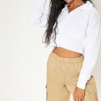 Lemon Collar Polo Long Sleeve Crop Top