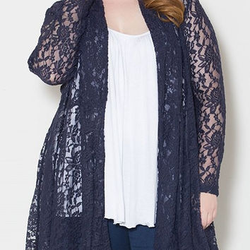 Long Sleeve Lace Plus Size Cardigan