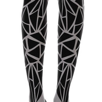 Triangles Pattern Print Tights Grey - Zohara - Free Shipping