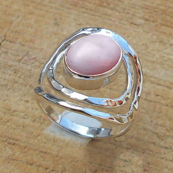 Pink Opal Ring - Designer Ring, Party Wear Ring, Fine Silver Ring, Engagement Wear Ring, Sterling Silver Ring, High Polish Ring