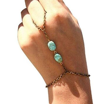 Retro Bronze Turquoise Bracelet Finger Ring Bangle Chain