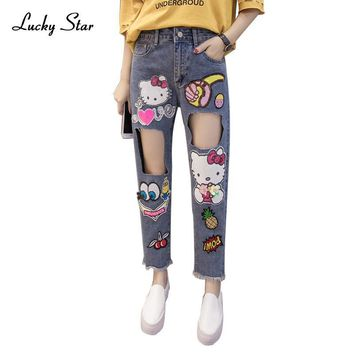 Lovely Girl Cartoon Jeans Denim Harem Pants Sequined Jean Women Cartoon Painted Hole Jean Feminina Boyfriend Jeans For WomenA157