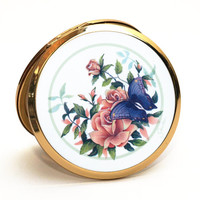 Powder Compact, Stratton Compact, Stratton Mirror, Mirror Compact, Compact Mirror, Convertible Compact, Butterfly, Flowers, Enamel - 1980s