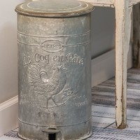 French Country Embossed Galvanized Metal Trash Bin.