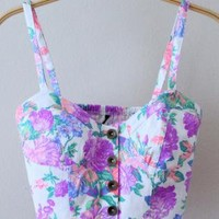 Purple & White Floral Bustier Crop Top