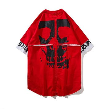 Summer top Curved Hem Long line Men T shirt Destroy Extended Hip Hop T-shirt Men red black skeleton print