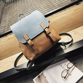 Women's Chic Color Block Double Shoulder Bags Female All-match Simple Design Backpacks