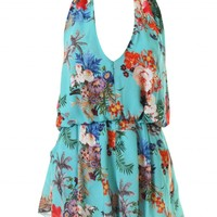 LOVE Aqua Floral Halter Neck Playsuit