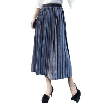 2017 New Autumn and Winter High Waisted Fashion Female Velvet Skirt Pleated Skirts Casual Long Accordion Pleated Skirt Womens