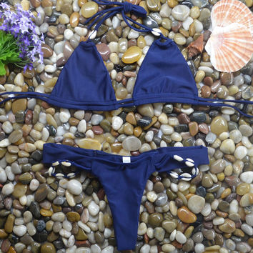 Blue Shell Two-piece Swimsuit Bathing Suit Bikini Set +Free Gift -Random Necklace