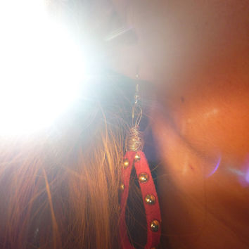 Dangle Red Studded Leather Earrings