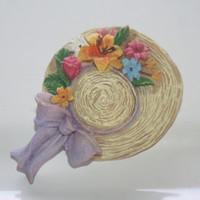 Vintage Summer Hat  Pin, Flower Hat Pin, Women's Pin
