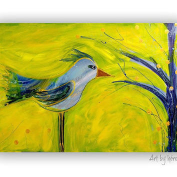 Original Bird Painting Yellow and Blue Distressed Folk Art on 24x36 canvas