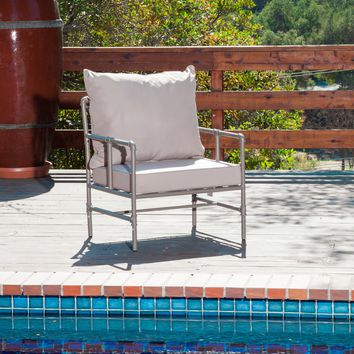 Industrial Outdoor Arm Chair with Cushions