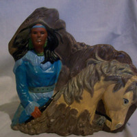 Indian woman and her horse, Indian woman in turquoise dress, rocky cliff, Indian woman, horse, ceramic, hand painted, figure, great gift