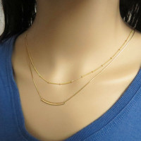 Gold layer necklace set of 2, Tube necklace and Satelite necklace, double strand necklace, minimalist jewelry gold filled neck