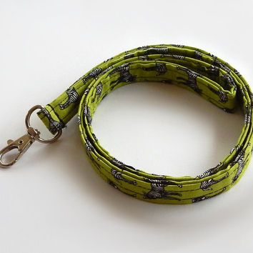 Zebra Lanyard / Zebra Print Keychain / Animal Print / Key Lanyard / ID Badge Holder / Badge Lanyard / Fabric Lanyard / Zebras / Green