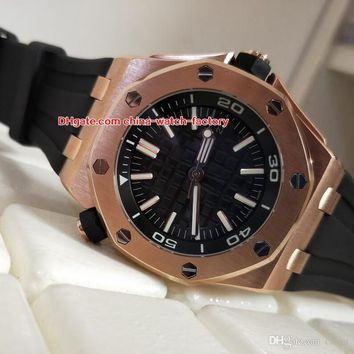Hot Items Excellent N8 Version 42mm Offshore Diver 15703 15703ST.OO.A002CA.01 18k Rose Gold Asia Mechanical Automatic Mens Watch Watche