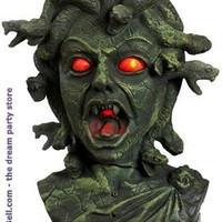 """Men's 11"""" Animated Medusa Bust with Light Up Eyes & Moving Snakes"""