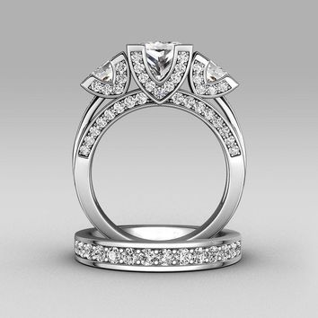 choucong Princess cut Three-stone 8ct Stone 5A Zircon stone 925 Sterling silver Women Engagement Wedding Band Ring set