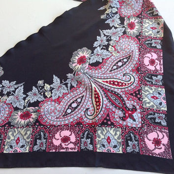 Black Paisley scarf, Coworker gift, Birthday gift  Chemo scarf, Pink Paisley Shawl,  Bulk Buying gift, Pink Black scarf, Gift for Sister