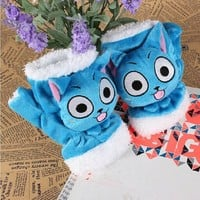 1 Pair Cosplay Fairy Tail Natsu Dragneel Lucy Happy Cat Plush Warm Gloves