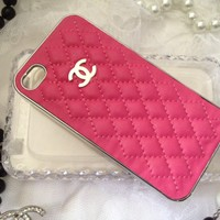 New Chanel Inspired iPhone 4 4s Hot Pink Case Cover