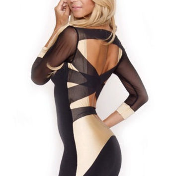 Quontum Black/gold mesh strap dress