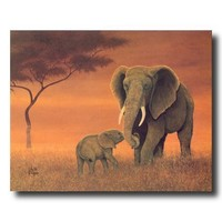 African Elephant Family Animal Wildlife Wall Picture Art Print