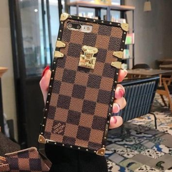 Brown LOUIS VUITTON LV Grids Case for iPhone 8 iPhone 8 Plus iPhone X iPhone XS iPhone XS MAX iPhone XR