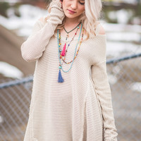 Hayden's Shoulder Cut Out Knit Sweater Tunic Top (Stone)