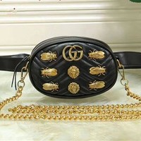 """Gucci"" Women Fashion Metal Insect Animal Rivet Chest Bag Waist Bag Mini Small Round Bag"