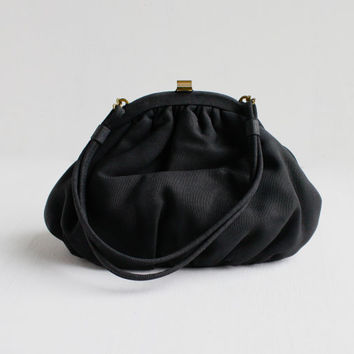Vintage Black Art Deco Purse - 1930s 1940s Small Purse with Matching Change Pouch / Elegant Evening Bag