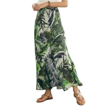 Bohemian Leaf Print Long Skirt Vintage High Waist Beach Maxi Skirts Women Summer Casual Skirt Green
