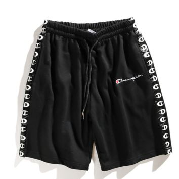 Champion fashion summer new embroidery men and women sport print shorts Black