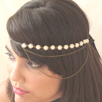 Bridal Headband Hair Jewelry Chain Pearl Headwrap Headpiece 2 Loop Burlesque - by Sophia Touassa Millinery & Accessories