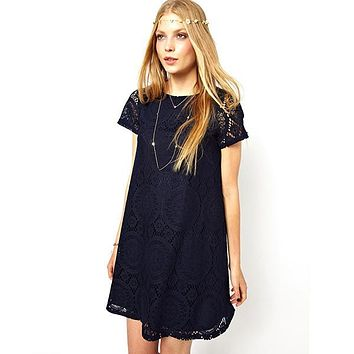 Ladies Lace Dress Bottoming Dress Loose Big Yards Club Party Short Sleeve Dress