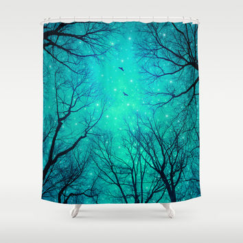 A Certain Darkness Is Needed II (Night Trees Silhouette) Shower Curtain by Soaring Anchor Designs ⚓