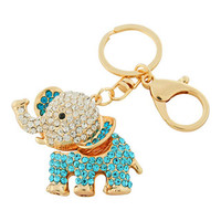 Bead Charmed Jewelry Ltd - ELEPHANT Keychain:14k Gold plated; Aqua Blue Rhinestone