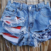 High Waist Shorts With American Flag Pockets by penelopemarz