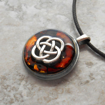 celtic knot necklace: brown - mens jewelry - mens necklace - celtic jewelry - boyfriend gift - fathers day - irish jewelry - mystic knot
