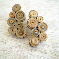 Old Newspaper Earrings Recycled Vintage Paper Jewelry Eco Friendly Beige Stud Earrings / Σκουλαρίκια από παλιό χαρτί