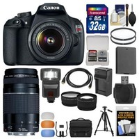 Canon EOS Rebel T5 Digital SLR Camera Body & EF-S 18-55mm IS II with 75-300mm III Lens + 32GB Card + Case + Flash + Battery + Tripod + Kit - Walmart.com