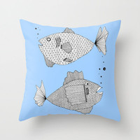 Two Blue Fish Throw Pillow - Double Sided Throw Pillow - Faux Down Insert - Illustrated Pillow Cover