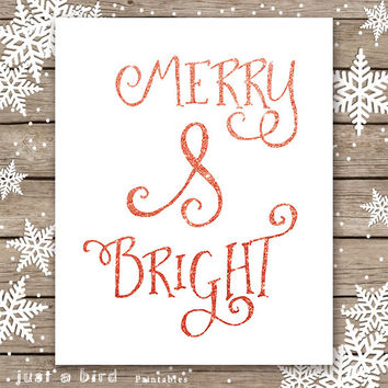 Merry and bright, Christmas PRINTABLE, red glitter christmas decoration, xmas gift, christmas sign, holiday printable gift, diy print