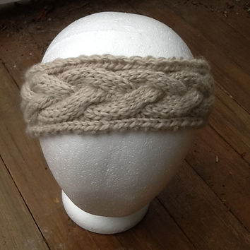 Cable Knit Headband, chunky washable Merino wool in feather grey, fleece lined option, cozy ear warmer,  knitted headband
