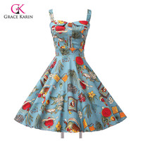 2017 Ladies 50s Rockabilly Retro Swing pinup Cocktail dress Womens Summer Style robe Vintage plus size Party Dresses Vestidos