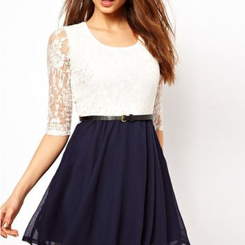 Fit and Flare Lace Patchwork Long Sleeve Dress