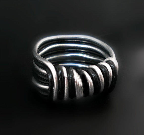 wire wrapped ring aluminum unisex ring from