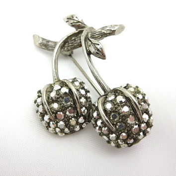 Rhinestone Cherry Brooch - Cherries Costume Jewelry Metallic Silver Stones